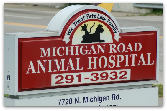 The sign outside of Michigan Road Animal Hospital
